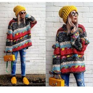Zara Knit   Multi-Color Pom Pom Sweater